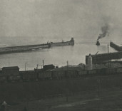 Photograph of Harbour Entrance and Piers, Blyth, Northumberland.
