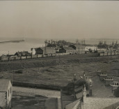 Photograph of Blyth Harbour , outbuildings and railway, Blyth, Northumberland.