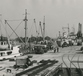 """Photograph showing ship """"Stability"""", Blyth Harbour, Blyth, Northumberland"""