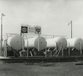Photograph of 'Shell' & 'BP' Marine Service storage tanks, Blyth Harbour, Blyth, Northumberland.