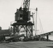 Photograph of loading of a ship, dockside, Blyth Harbour, Blyth, Northumberland