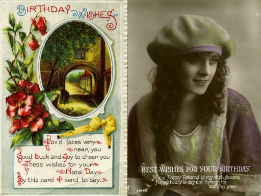 Birthday greetings card showing girl's face, a picturesque street and a message 'Best wishes for your birthday' - sample image only | Unknown publisher