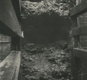 Photograph of under setting of South Quay wall, Blyth, Northumberland.