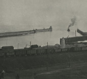 Photograph of harbour entrance during construction of pier. Blyth, Northumberland