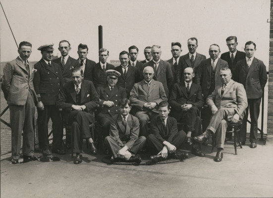 Photograph of group of gentlemen possibly staff of Blyth Harbour Commission