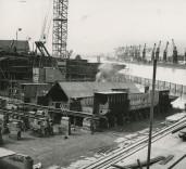 "Photograph of construction of hull base of ""Crofton"", Renfrew, Scotland"