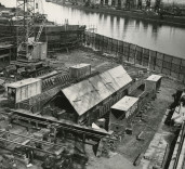 """Photograph of  construction of laying of keel """"Crofton"""" ,Renfrew, Scotland"""