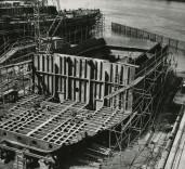 "Photograph of construction of bulkheads of ""Crofton"", Renfrew, Scotland"