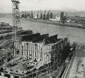 "Photograph of construction of bulkheads of ""Crofton"", Renfrew Scotland."