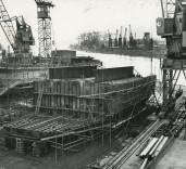 "Photograph of detail of hull of ""Crofton"", Renfrew, Scotland."