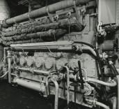 "Photograph of area of engine room on ""Crofton"", Renfrew, Scotland."