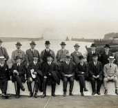 Photograph of dignitaries, Blyth Harbour, Blyth, Northumberland.