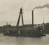 Photograph of steam dredger, Blyth Harbour, Blyth, Northumberland.