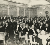 Photograph of dignitaries at a function, taken by Sydney L. Gorer, 127 Grainger St. Newcastle upon Tyne.