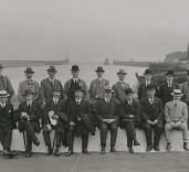 Photograph of dignitaries at Blyth Harbour, Blyth, Northumberland.