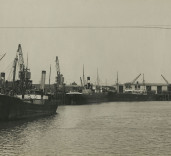 Photograph of barges, Blyth Harbour, Blyth, Northumberland.