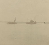 Photograph of vessels at sea, Blyth Harbour, Blyth, Northumberland.