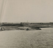 Photograph of various storage buildings, Blyth Harbour, Northumberland.