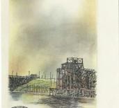 Smiths print of Blyth Harbour, Blyth, Northumberland.