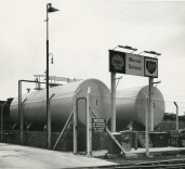 Photograph of 'Shell' & 'BP' Marine Service storage tank, Blyth, Northumberland.