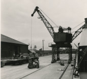 Photograph of men at work, Blyth Harbour, Blyth, Northumberland.