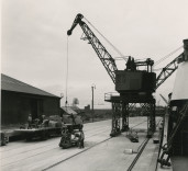 Photograph of dockside operations, Blyth Harbour, Blyth, Northumberland.