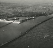 Photograph showing South Harbour and entrance, Blyth, Northumberland.